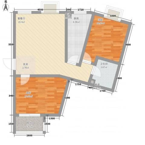 莱镇香格里2室1厅1卫1厨95.00㎡户型图