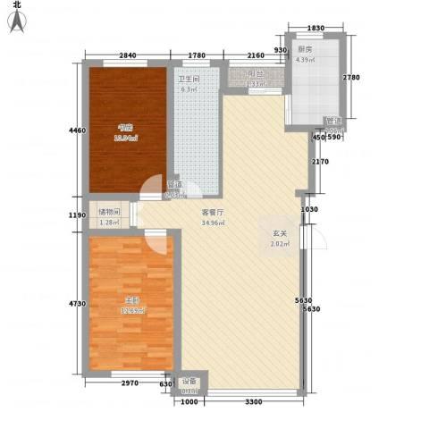 新华壹品2室1厅1卫1厨104.00㎡户型图