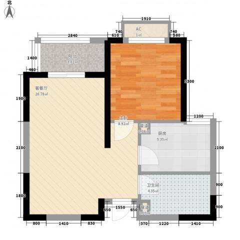 铭城国际社区1室1厅1卫1厨60.00㎡户型图