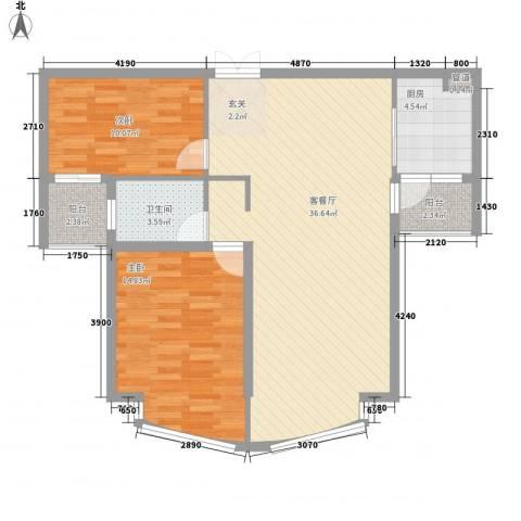 颐景园2室1厅1卫1厨105.00㎡户型图