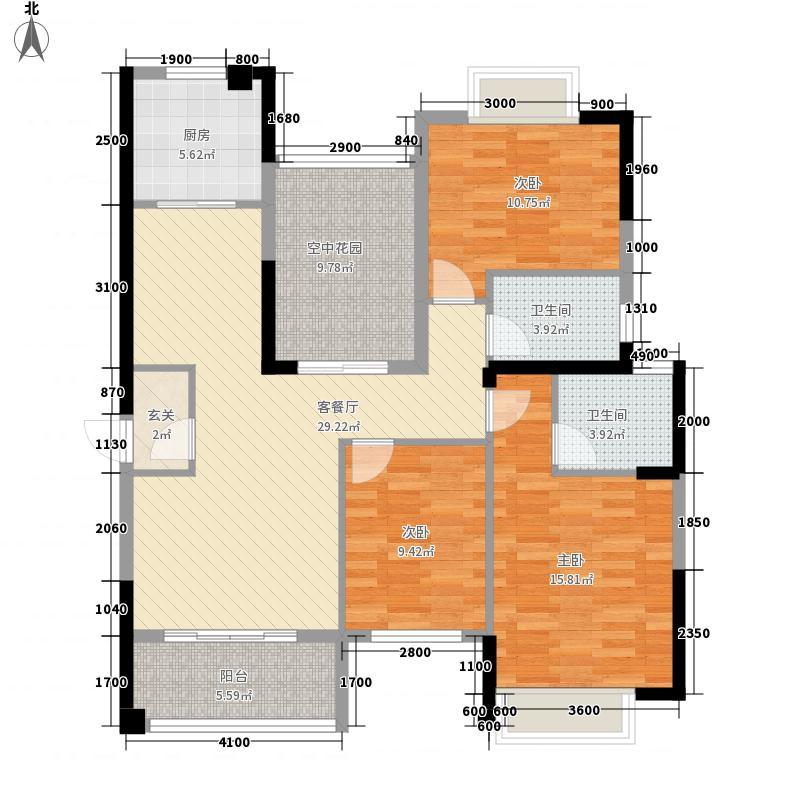莱茵城12.50㎡二期3、5、6栋标准层B2户型3室2厅2卫1厨