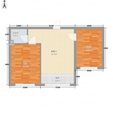 岭城一号2室1厅1卫0厨67.00㎡户型图