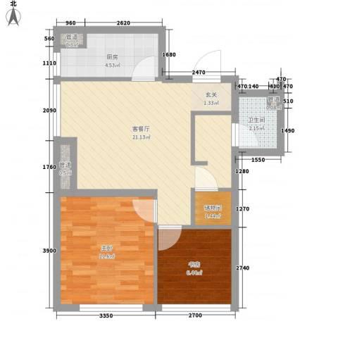 假日国际2室1厅1卫1厨75.00㎡户型图