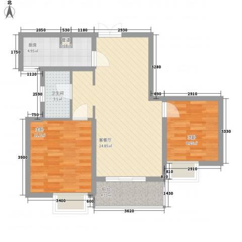 滨湖世纪城徽杰苑2室1厅1卫1厨86.00㎡户型图
