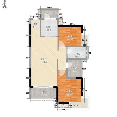 香樟1号2室1厅1卫1厨87.00㎡户型图