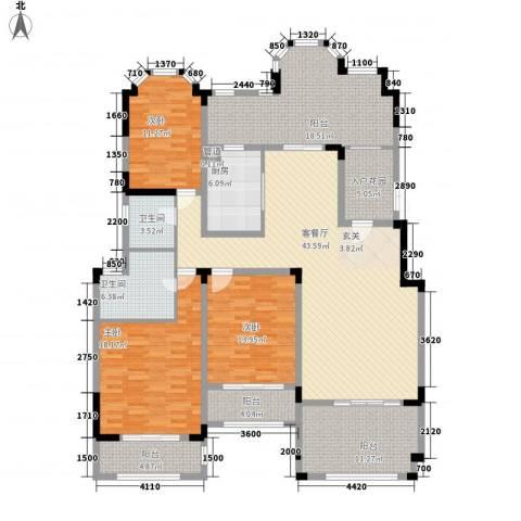 紫金英郡3室1厅2卫1厨154.00㎡户型图