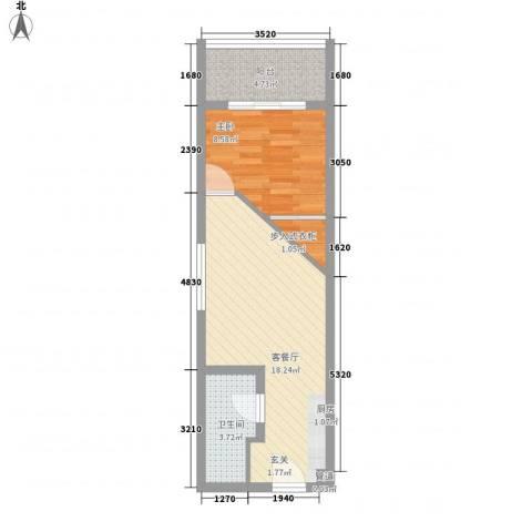 中融商务公馆1室1厅1卫0厨53.00㎡户型图