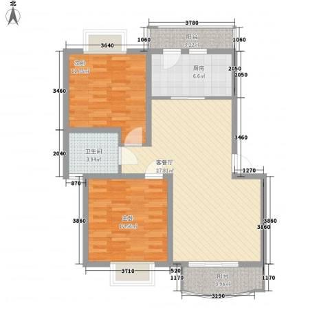 同方锦城二期2室1厅1卫1厨100.00㎡户型图