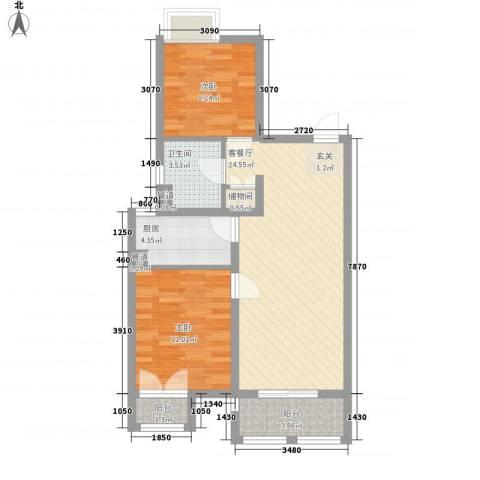 上海绿地香颂公寓2室1厅1卫1厨84.00㎡户型图