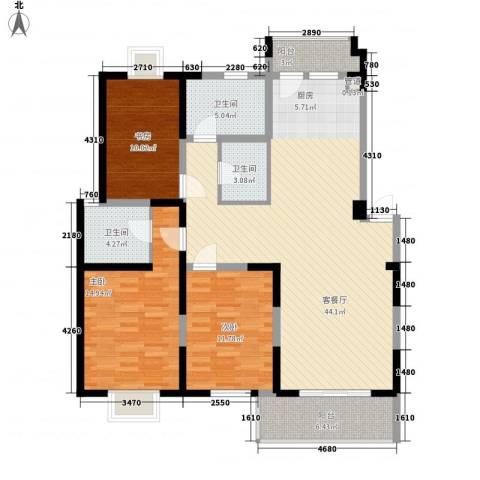 国泰新都3室1厅3卫0厨147.00㎡户型图
