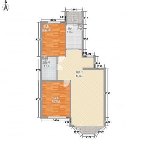 新嘉坡城2室1厅1卫1厨97.00㎡户型图