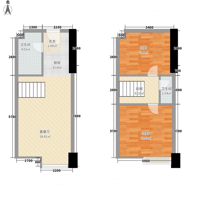 联信商务广场66.20㎡一号楼B户型2室1厅1卫1厨