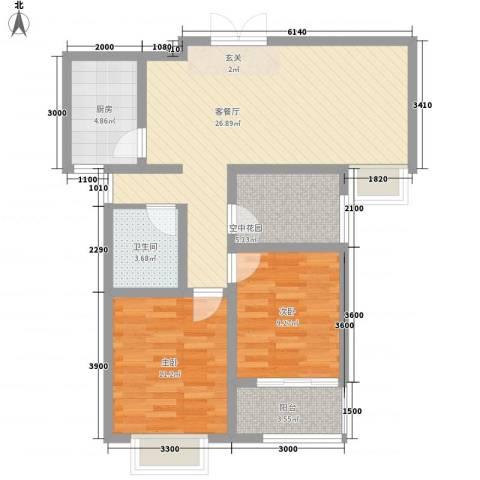 悦园2室1厅1卫1厨94.00㎡户型图