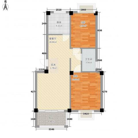 佳兆业壹号公馆2室1厅1卫1厨62.97㎡户型图