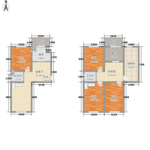 澜山溪谷4室1厅2卫1厨122.45㎡户型图