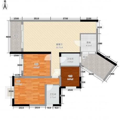 广大上城3室1厅2卫1厨122.00㎡户型图