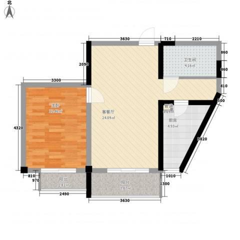 天赐园(和平区)1室1厅1卫1厨71.00㎡户型图
