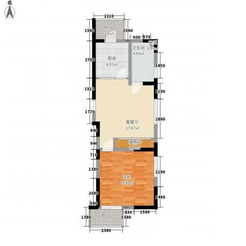 天赐园(和平区)1室1厅1卫1厨76.00㎡户型图