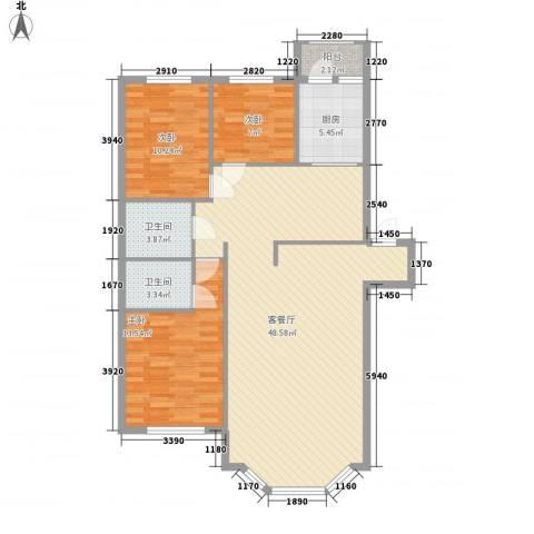 新嘉坡城3室1厅2卫1厨131.00㎡户型图