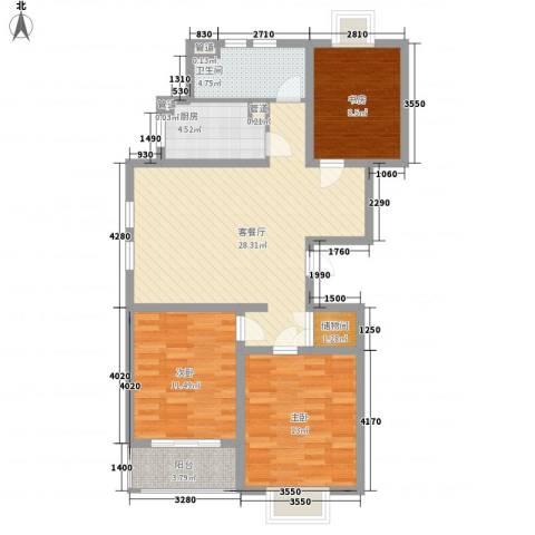 枫林湾3室1厅1卫1厨110.00㎡户型图