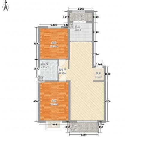 奥力孚公寓2室1厅1卫1厨100.00㎡户型图