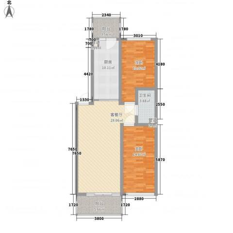 果园星城2室1厅1卫1厨114.00㎡户型图