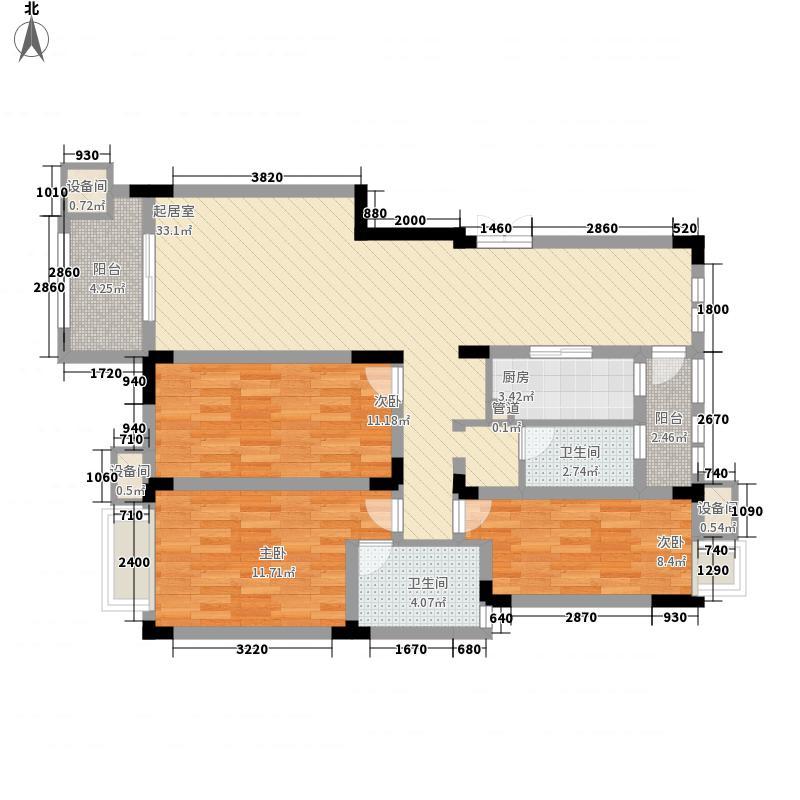 紫金上河苑127.10㎡一期1、4幢标准层C户型4室2厅2卫1厨