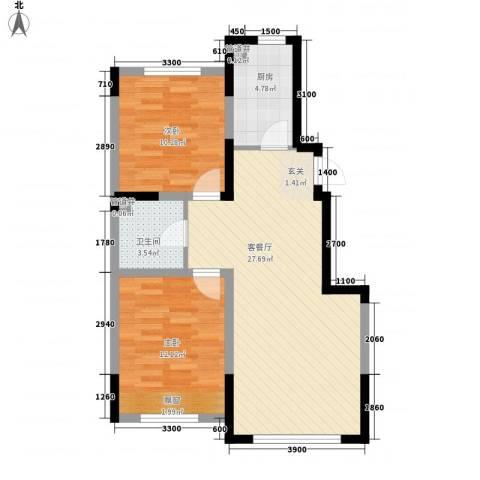 格林阳光城2室1厅1卫1厨86.00㎡户型图