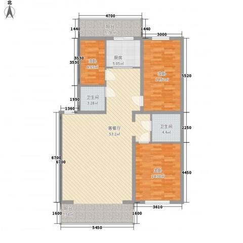 净馨家园3室1厅2卫1厨178.00㎡户型图