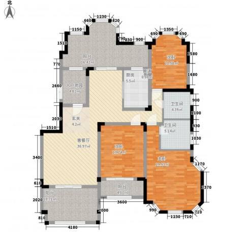 紫金英郡3室1厅2卫1厨155.00㎡户型图