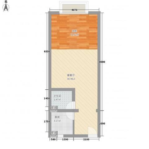 东渡国际青年城1厅1卫1厨50.00㎡户型图