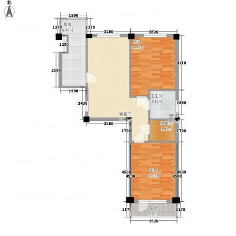 紫金枫尚2室1厅1卫1厨98.00㎡户型图