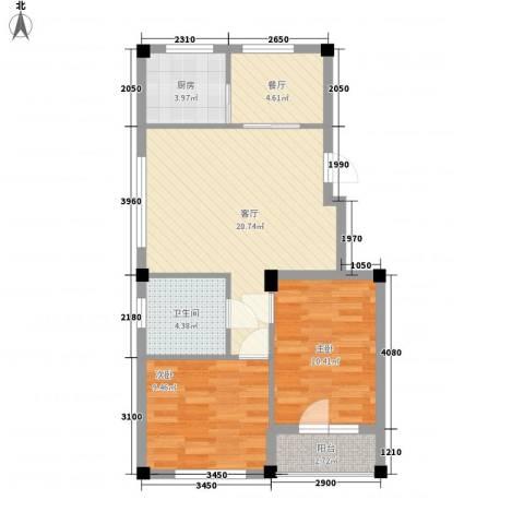 鹏辉裕景轩2室2厅1卫1厨80.00㎡户型图