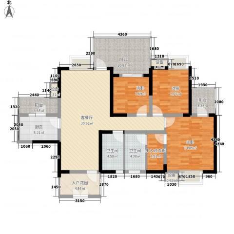 红树湾3室1厅2卫1厨130.00㎡户型图