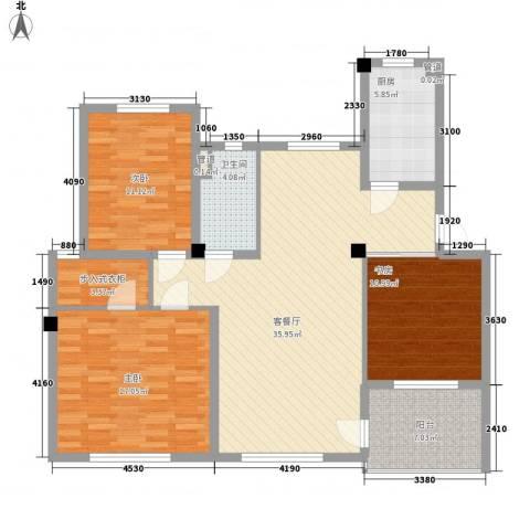 惠南一方新城3室1厅1卫1厨135.00㎡户型图