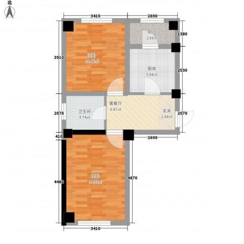 金港馨都2室1厅1卫1厨44.79㎡户型图