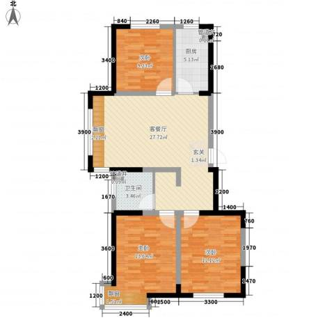 格林阳光城3室1厅1卫1厨71.51㎡户型图