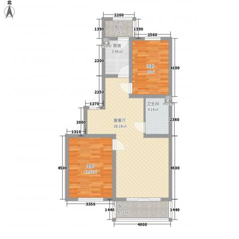 瀛滨寓家园2室1厅1卫1厨89.00㎡户型图
