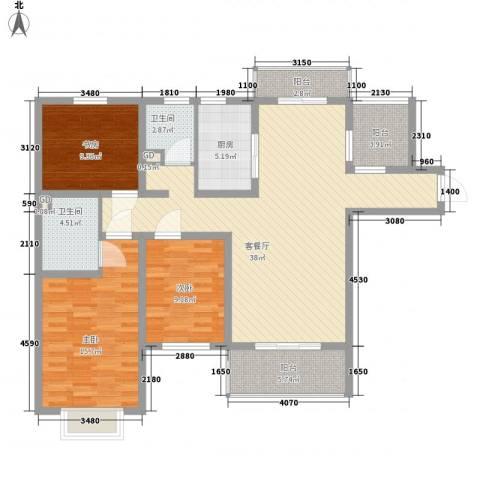 东湖京华3室1厅2卫1厨142.00㎡户型图