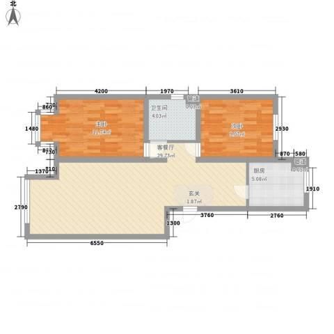卓然京都2室1厅1卫1厨81.00㎡户型图
