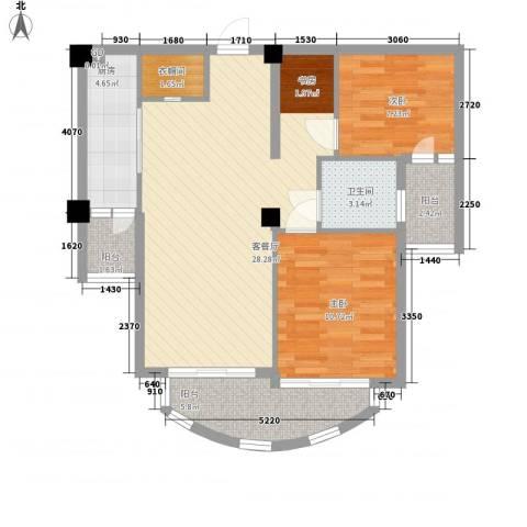 东湖京华2室1厅1卫1厨95.00㎡户型图