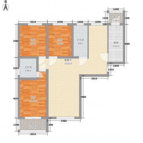 大通君澜3室1厅2卫1厨116.00㎡户型图