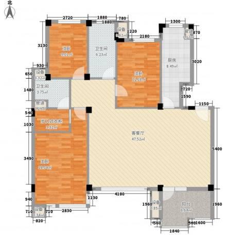 福隆雅居3室1厅2卫1厨164.00㎡户型图