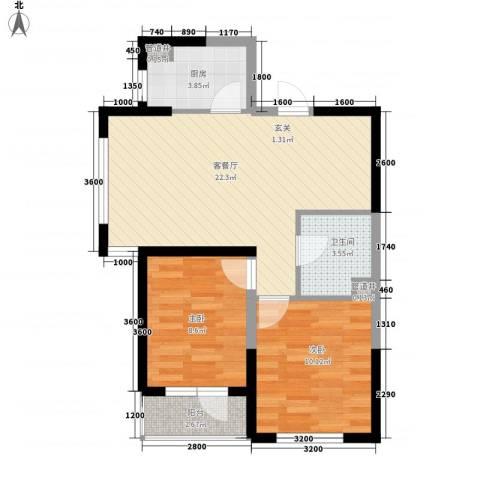 格林阳光城2室1厅1卫1厨78.00㎡户型图