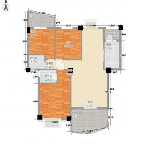 建昌99度城3室1厅2卫1厨134.00㎡户型图