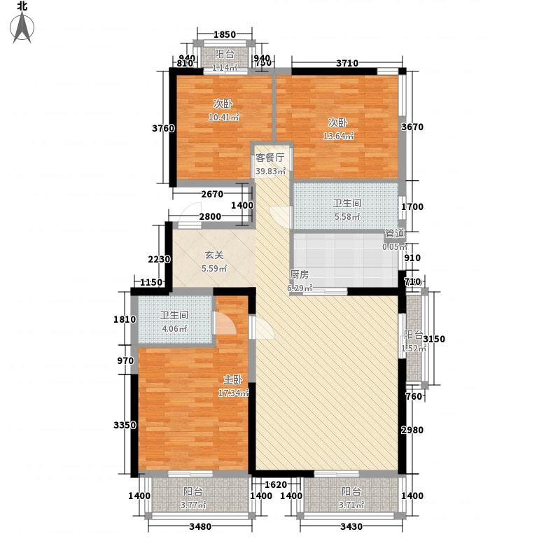 美利山118.92㎡C1号楼3单元702户型3室2厅2卫1厨