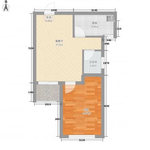 首创悦府1室1厅1卫1厨55.00㎡户型图
