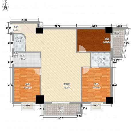 中融商务公馆3室1厅2卫1厨150.00㎡户型图