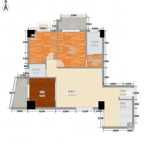 中融商务公馆3室1厅2卫0厨128.00㎡户型图