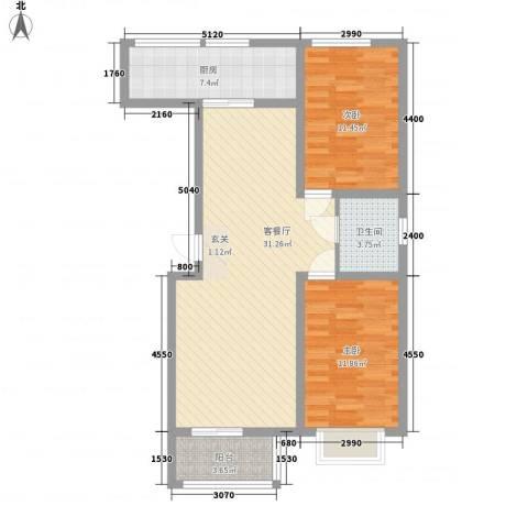 良园新居2室1厅1卫1厨69.37㎡户型图
